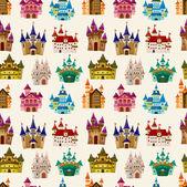 Cartoon Fairy tale castle seamless pattern — Stock Vector