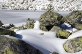 Frozen lake in the valley — Stock Photo