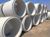 Cement drainage pipes — Stock Photo