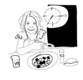 Little girl has breakfast — Stock Vector