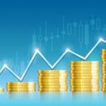 Trade diagram with golden coins money — Stock Vector