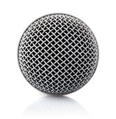 Metallic texture of microphone head — Stock Photo