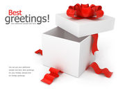 Opening gift box with red bow — Stock Photo