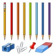 Set of pencils on box — Vector de stock