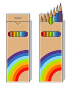 Set of pencils on box — Stock Vector
