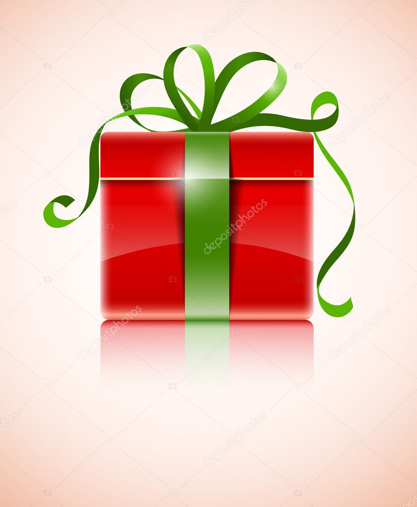 Gift in red box with green bow vector illustration — Stock Vector #7882831