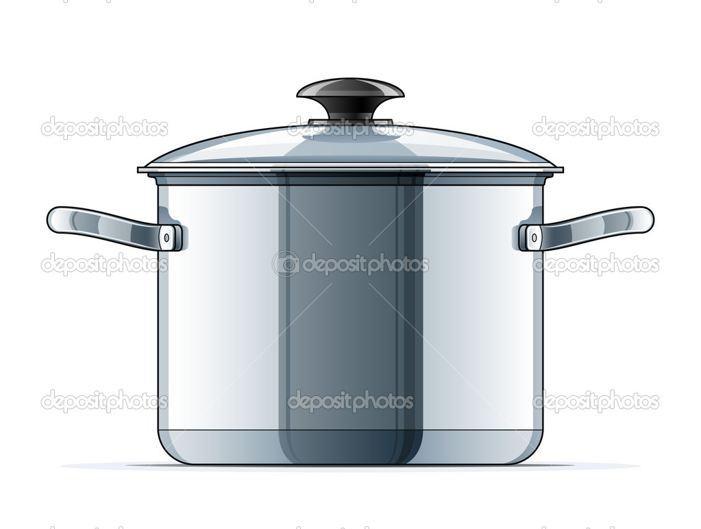 Metallic saucepan with lid vector illustration isolated on white background  Stock Vector #7895964