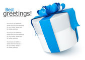 Gift box with blue bow — Stock Photo