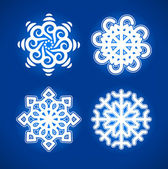Snowflake vector on blue background — Stock Vector
