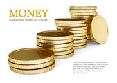 金色硬币打下桩 — 图库照片