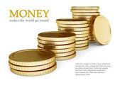 Golden coin lay pile — Stock Photo