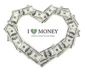 Creative heart frame made of dollars money — Stock Photo