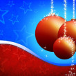 Christmas card with xmas balls on the blue red background - Stock Photo