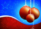 Christmas card with xmas balls on the blue red background — Stock Photo