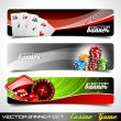 Vector banner set on a Casino theme. — Stock Vector