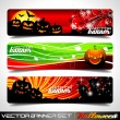 Vector banner set on a Halloween theme. — Stock Vector
