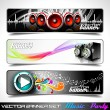 Vector banner set on a Music and Party theme. — ストックベクタ