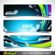 Three abstract vector banner background — Stock Vector