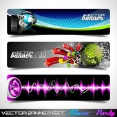 Vector banner set on a Music and Party theme. — Stock Vector
