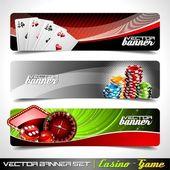 オンラインカジノのテーマに設定ベクトル バナー. — ストックベクタ
