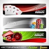 Vector banner set on a Casino theme. — Vector de stock