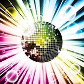 Vector illustration for a musical theme with disco ball — Stock Vector