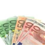 Euro banknotes over white — Stock Photo #7792274