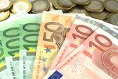 Euro banknotes over white — Stock Photo