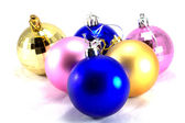 Six Christmas baubles different colours — Stock Photo