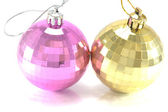 Two Christmas baubles over white — Stock Photo