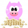 Vector imajes. Pig banck and coins. - Stock Vector