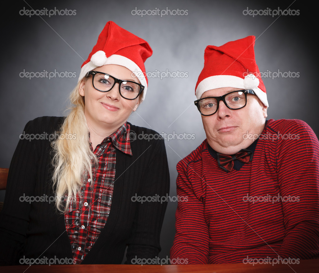 Excited Nerd Couple and santa hat — Stock Photo #7798012