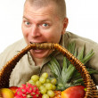 Stock Photo: Mwith basket in mouth
