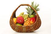 Fruit in a wicker basket — Stock Photo