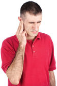 Man have pain in ear — Stock Photo