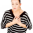 Foto de Stock  : Womhaving chest pain