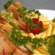 Club sandwich with french fries - Stock Photo