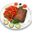 Grilled veal fillet with vegetable salad - Stock Photo