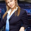 Stock Photo: Blond air hostess (stewardess)