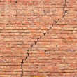 Stock Photo: Cracked redbrick wall