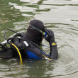 Scuba diver entering the water — Stock Photo