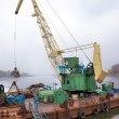 Dredger on river - Stock Photo