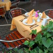 Outdoor restaurant table - Stock Photo