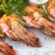 Grilled shrimps with vegeables — Stock Photo