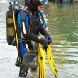 Scuba diver entering the water — Stock Photo #7796017