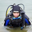 Stock Photo: Scubdiver entering water