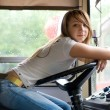 Beauty at trolleybus cabin — Stock Photo #7796159
