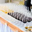 Array of wineglasses, selective focus — Stock Photo