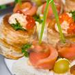 Seafood canapes — Stock Photo