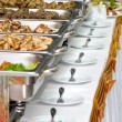 Banquet meals served on tables - Stock Photo